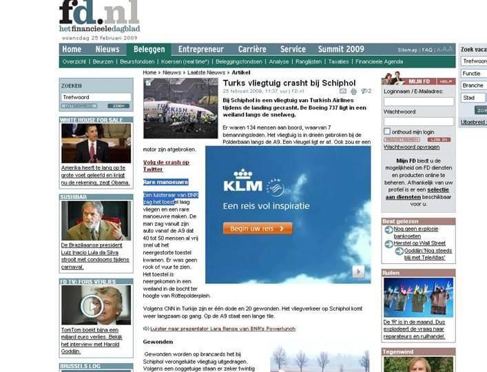 klm banner bij crash op fd.nl